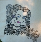 Close up of tote bag.  Drawing of the girl is a coloring page from Tangled Fashionista