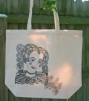 Tote Bag.  Drawing of the girl is a coloring page from Tangled Fashionista