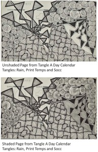 Example of same page from Tangle A Day calendar - unshaded and shaded